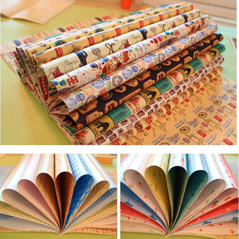 Flower Wrapping Book Paper School Student Book Cover DIY Cartoon Beautiful Packing Paper Decoration Book Paper 2*8 Gift Tag 16pc