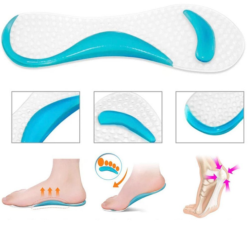 1Pair Soft Gel Innersåle 3/4 Lady Shoe Pad Med Non-Slip Arch Støtte og Pute Orthotics Foot Care Tool Massager Vaskbar C591