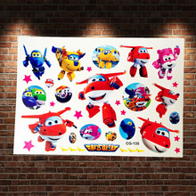 Funny SuperWings Plane Flash Tattoo Paste ACG-135 Kids Cartoon Super Wings Deformation Decals 3D Robot Airplane Tattoo Body Arm