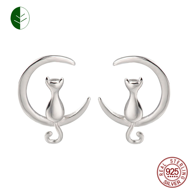 Fashion Colorful 925 Sterling Silver Cat Moon Stud Earring Crescent Moon  Cat Earrings Cat Lovers Gift Girls Wholesale zk30