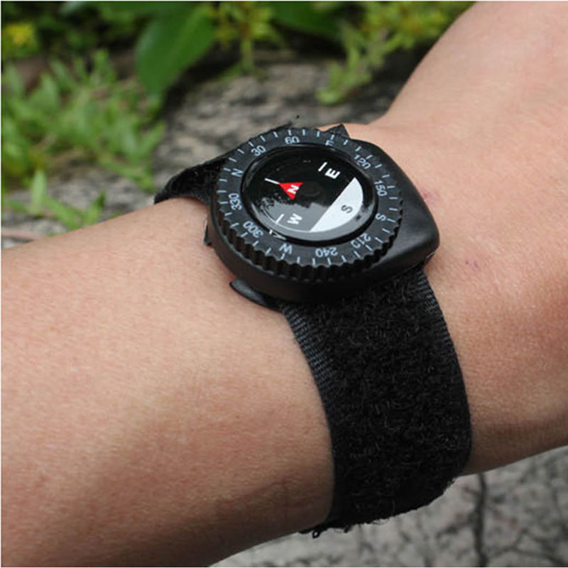 Outdoor Clip-On Watchband Compass Nylon Band Bracelet With Closure Portable