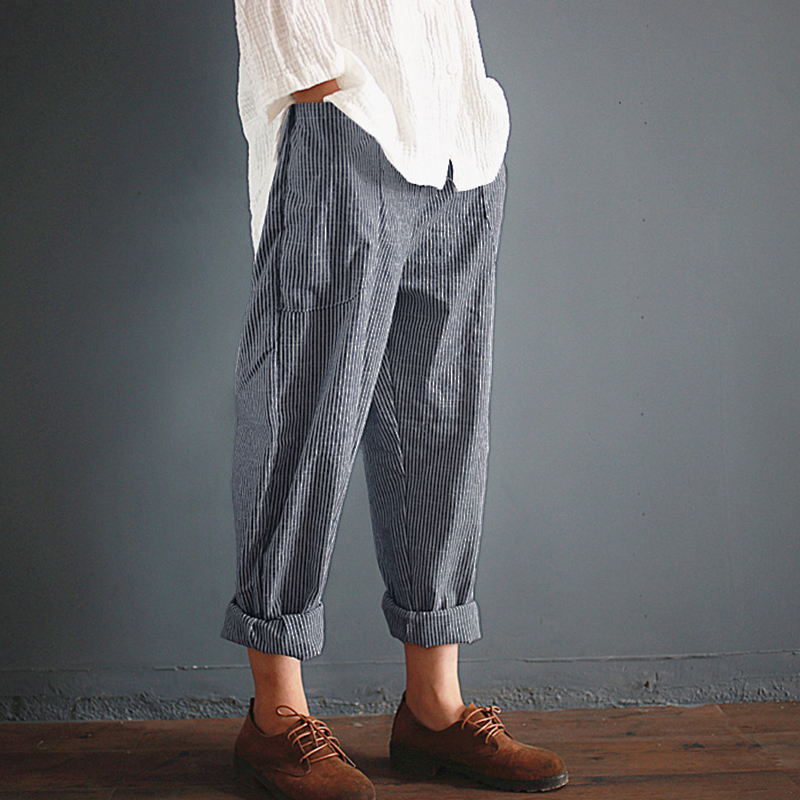 Pockets Loose Striped Cotton Linen Long Harem Pants Women Elastic Waist Casual Cargo Pantalon Overalls Trousers Plus Size Casual