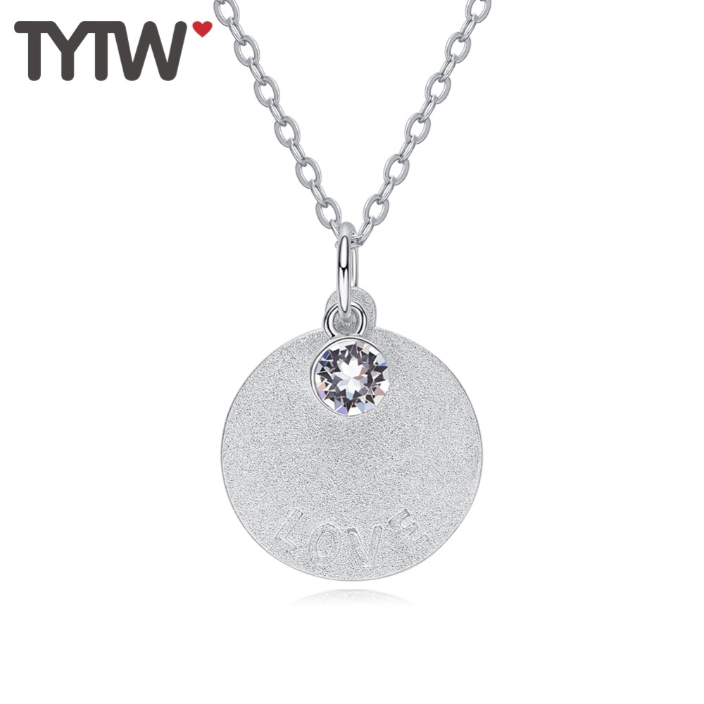 TYTW Crystal S925 Silver women necklace Customize letter Love Happiness Round crystals blessing Pendant choker graduate Gift