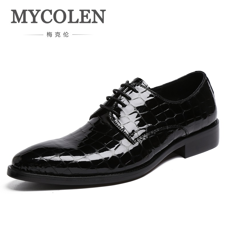 MYCOLEN British Style Pointed Toe Man Formal Dress Shoes Genuine Leather Handmade Party Oxfords Men's Derby Wedding Flats krusdan british style vintage man brogue shoes genuine leather handmade oxfords round toe derby formal dress men s flats nk63