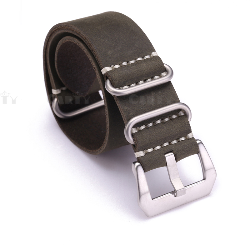 20 22 24mm Handmade Men Zulu Leather G10 Nato Militaty Watch Strap Band Stainless Steel Buckle Comfortable Black Brown Green 1