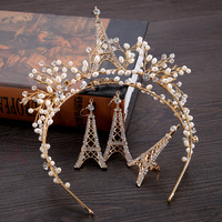 HIMSTORY Handmade Gold Eiffel Tower Designs Hair Crown Earring Rings Bridal Wedding Fascinator Hair Accessory Headdress