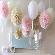 cute babyshower decoration 5pcs 10 15 20 25 30 cm Tissue Paper Flowers paper pom poms