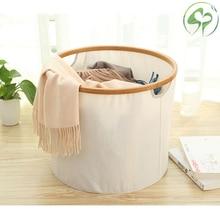Round Storage Basket Bamboo Cotton Linen Sundries Organizer Cosmetic Case Toy Barrel Box Cloth