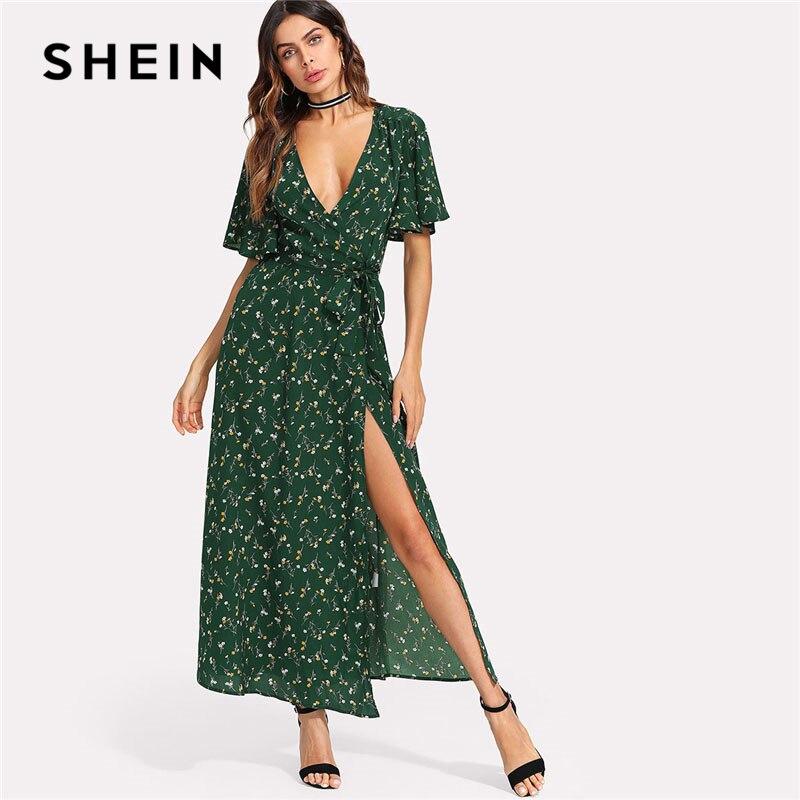SHEIN Green Flower Print Surplice Wrap Maxi Dress Women Ruffle Deep V Neck Butterfly Sleeve Split Dress 2018 Short Sleeve Dress