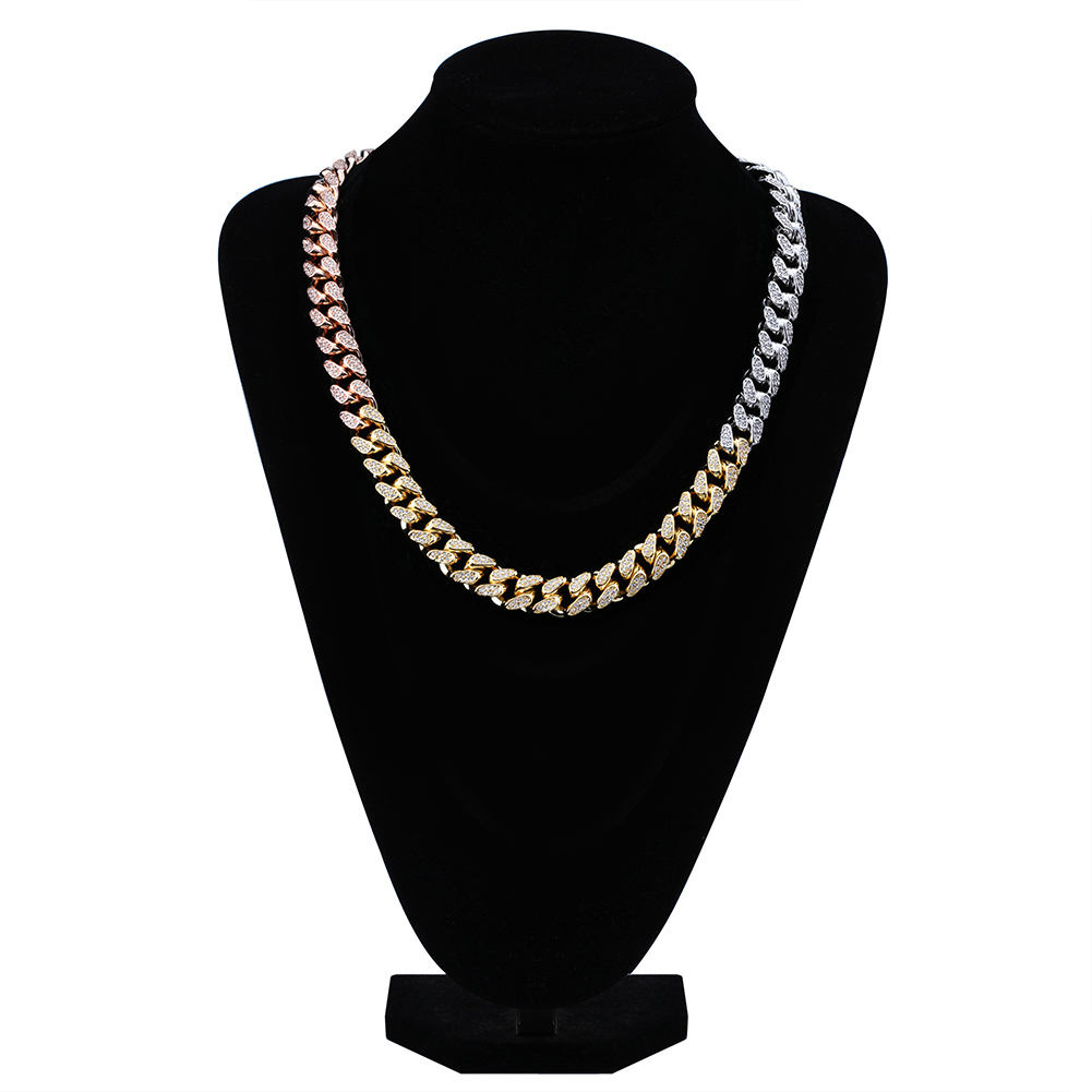 14mm Hip Hop Men 39 s Maimi Cuban Link Chain Necklace Silver Gold Color Iced Out Cubic Zircon Bling Jewelry Necklaces Gifts in Chain Necklaces from Jewelry amp Accessories