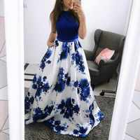 Lady elegancka drukowana O Neck bez rękawów zimowa sukienka świąteczna kobiety Xmas Maxi Sukienki Sukienki Party Vestidos Ropa Mujer