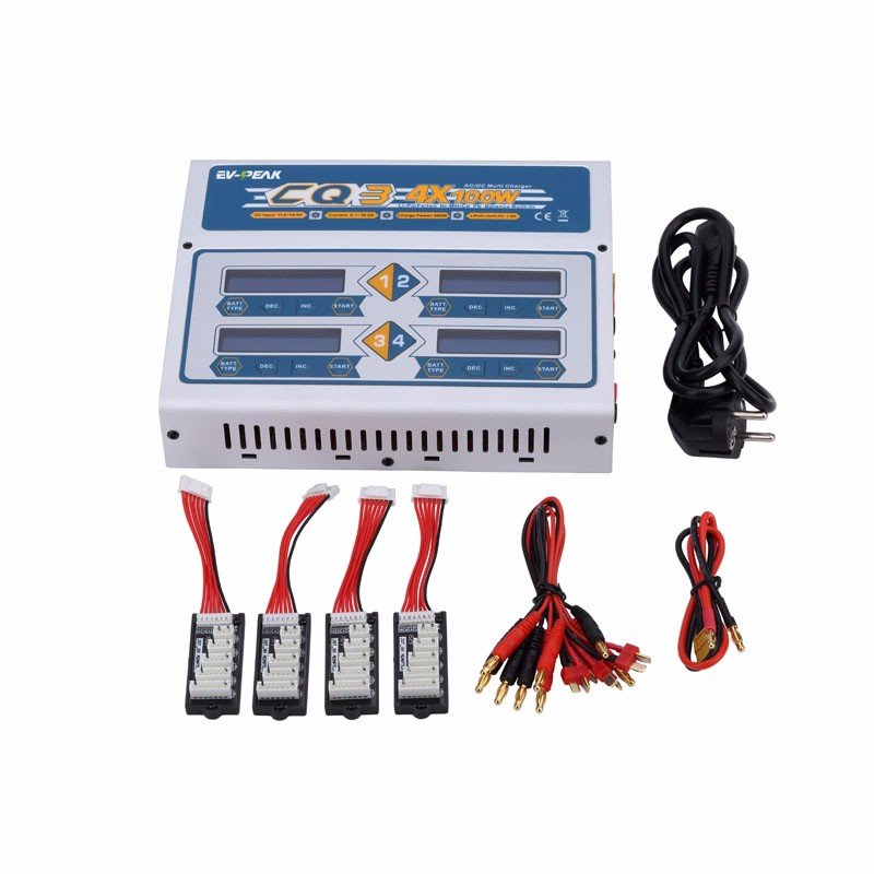 EV-Peak 100W x 4 CQ3 RC Balance Lipo Battery Charger Nimh Nicd lithium Battery Charger Discharger original ev peak d1 rc lipo battery charging for yuneec typhoon q500 intelligent balance battery charger