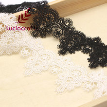 لوسيا الحرف أبيض/أسود زهرة التطريز الخياطة الدانتيل لفستان الزفاف طوق ديكور N0507