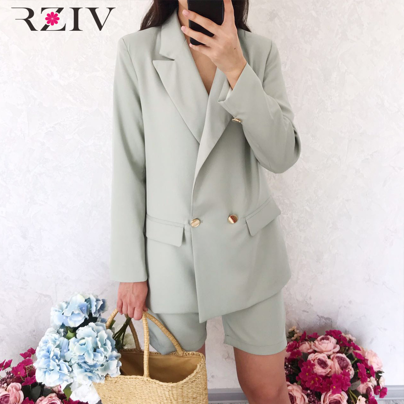 RZIV Women's Set Blazer Shorts Casual Solid Color Double-breasted Suit + Shorts Suit 2 Piece Set OL Style