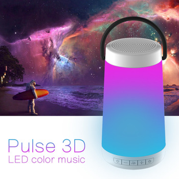 Outdoor Bluetooth Wireless Speaker Pulse 3D Stereo Colorful LED Light AUX TF Card Playback with Microphone