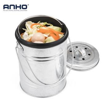 Stainless Steel Compost Bin Trash Can Deodorant Mini Bucket with Lid Counter Top Waste Bin Kitchen Garbage Storage Bucket image