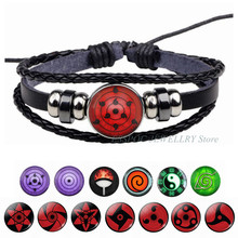 Pulseira de olho de couro de anime Naruto, bracelete trançado e joia de cosplay Sharingan Sasuke Uchiha clã Rinnegan Taichi Kakashi