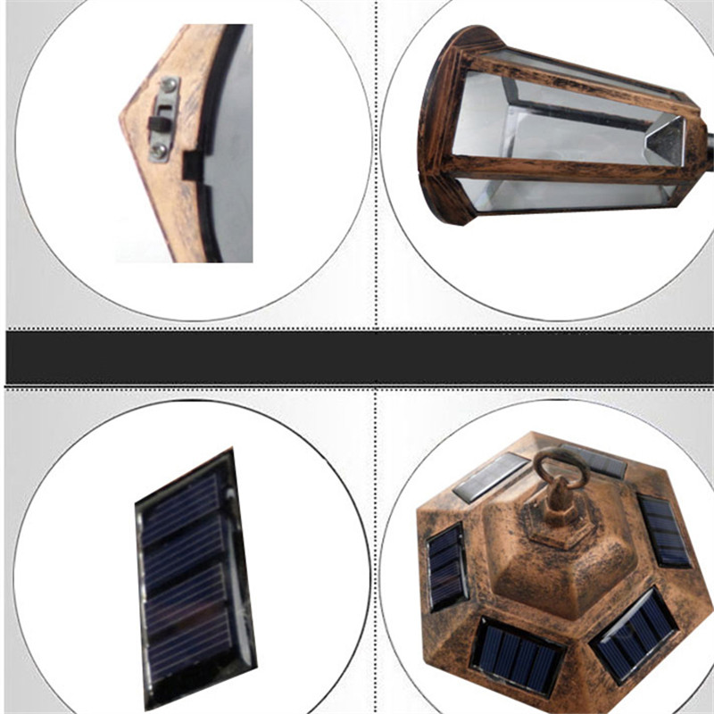 Retro Luz De LED Solar Panel Wall Lights Waterproof Garden Outdoor Landscape Lamp Path Street Energy Saving Garland Lighting