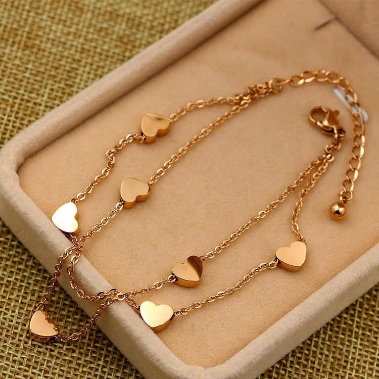 Martick złoty kolor 316L homara ze stali nierdzewnej 7 serce podwójna warstwa Link bransoletki dla kobiet moda lato w stylu B198
