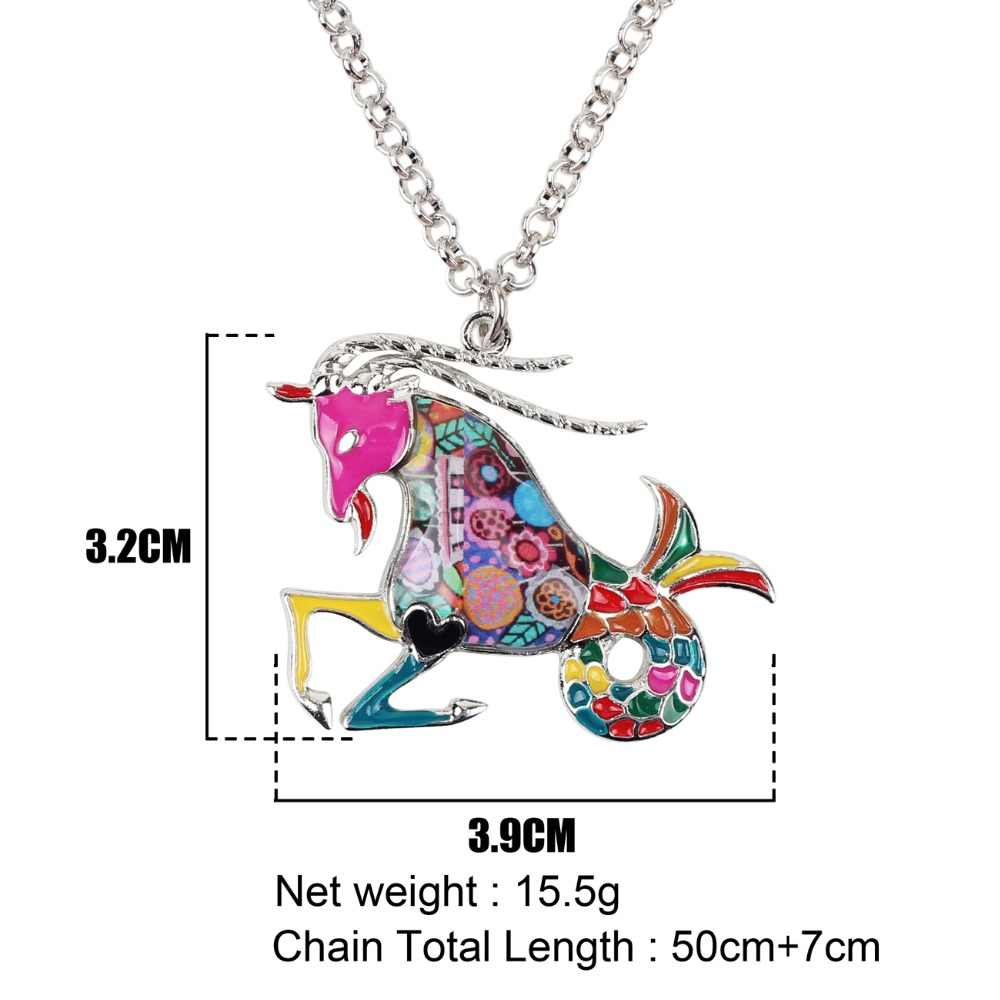 Bonsny Maxi Tuyên Bố Kim Loại Hợp Kim May Mắn Hoàng Đạo Các Capricorn Necklace Chain Choker Pendant Thời Trang New Men Trang Sức Cho Phụ Nữ
