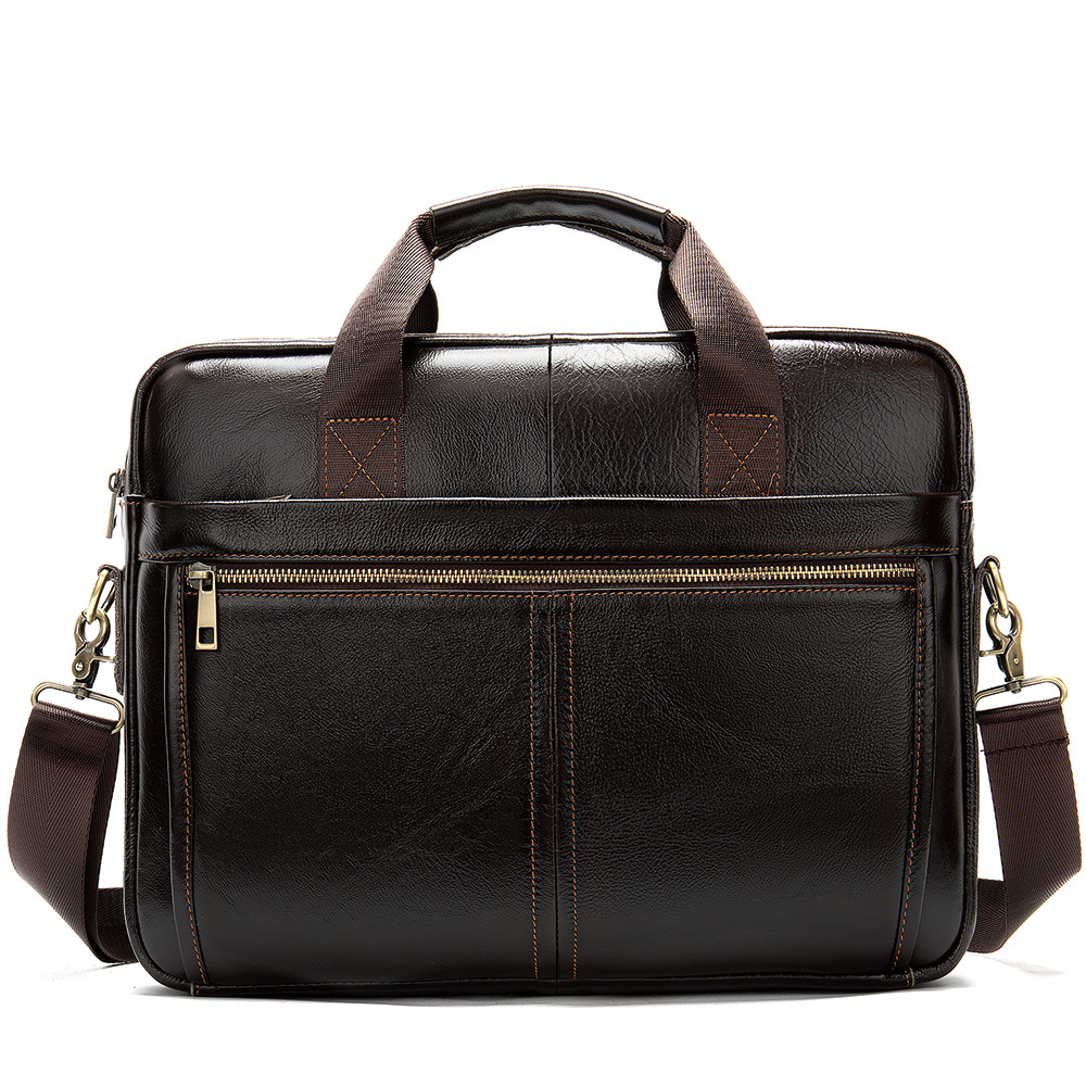 2019 New First Layer Cow Leather Business Men's Portable Briefcase Solid Shoulder Bag Large Capacity Vintage Laptop Bags