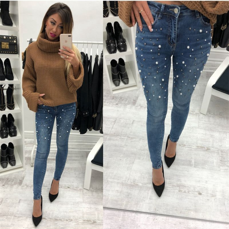 Women Blue Jeans Pants Skinny Pearl Beaded Black Jeans Summer Spring Ladies High Waist Zipper Fly Long Denim Casual Mom Jeans