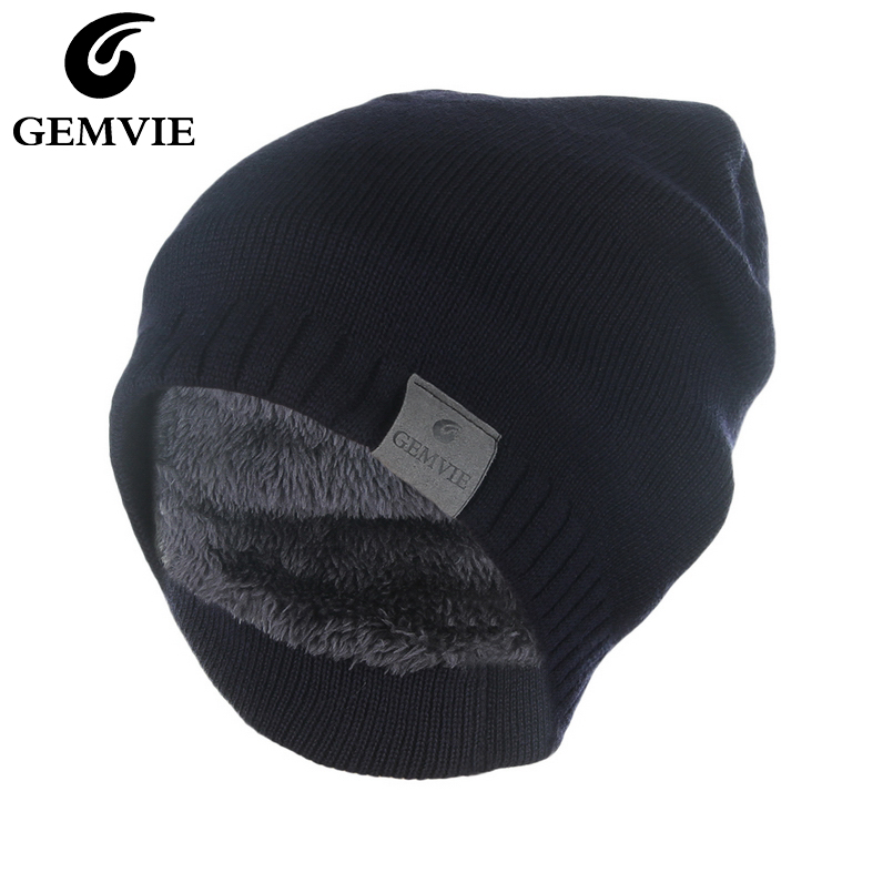 GEMVIE Unisex Winter Hat Knitted Cap For Men Women 2019 Solid Thick Warm Soft Strentch Plush lining Beanie Cap skullies beanies