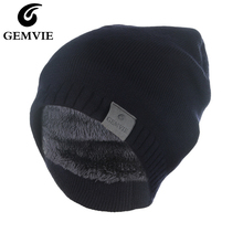 Casual Solid Acrylic Thicken Warm Caps Style Women and Men Plus Velvet Winter Knitted Hats Red/Black/Blue/Gray Beanies Hat цена