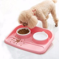 Pet Eco Friendly Food Level Plastic Double Bowl Cat Antibacterial Feeder Water Bowl Defence Food Spills