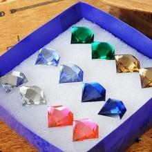 hot sale 6 pairs/pack set Imitation diamonds pattern stud earrings for women resin geometry Multicolor jewelry earing girl gift