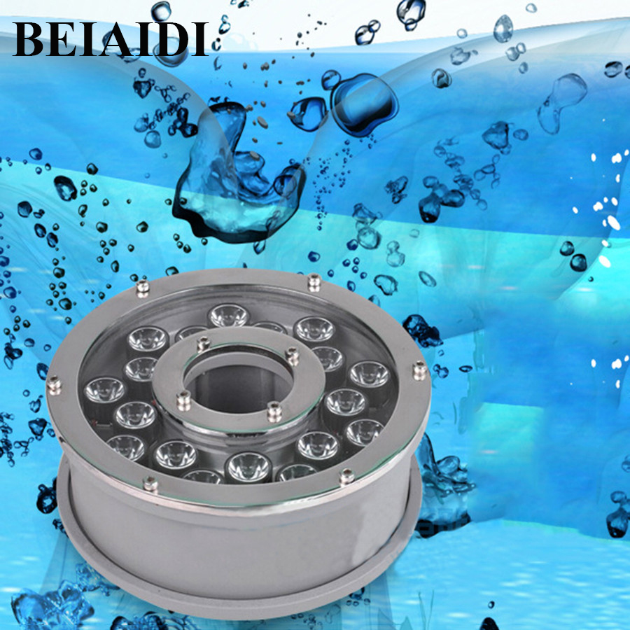 BEIAIDI IP68 Aluminum LED Fountain Light RGB Underwater Swimming Pool Disco Party Lamp Decor AC24V 6W 12W 18W Outdoor Pond Light