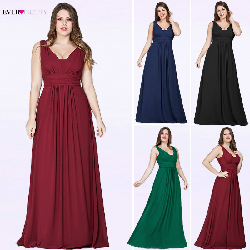 Ever Pretty Plus Size Evening Dresses New Arrival Elegant V-neck Chiffon Navy Blue A-line Long Party Gowns for Wedding Guest(China)