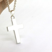 Solid Sterling Silver Classic Cross Pendant Necklace