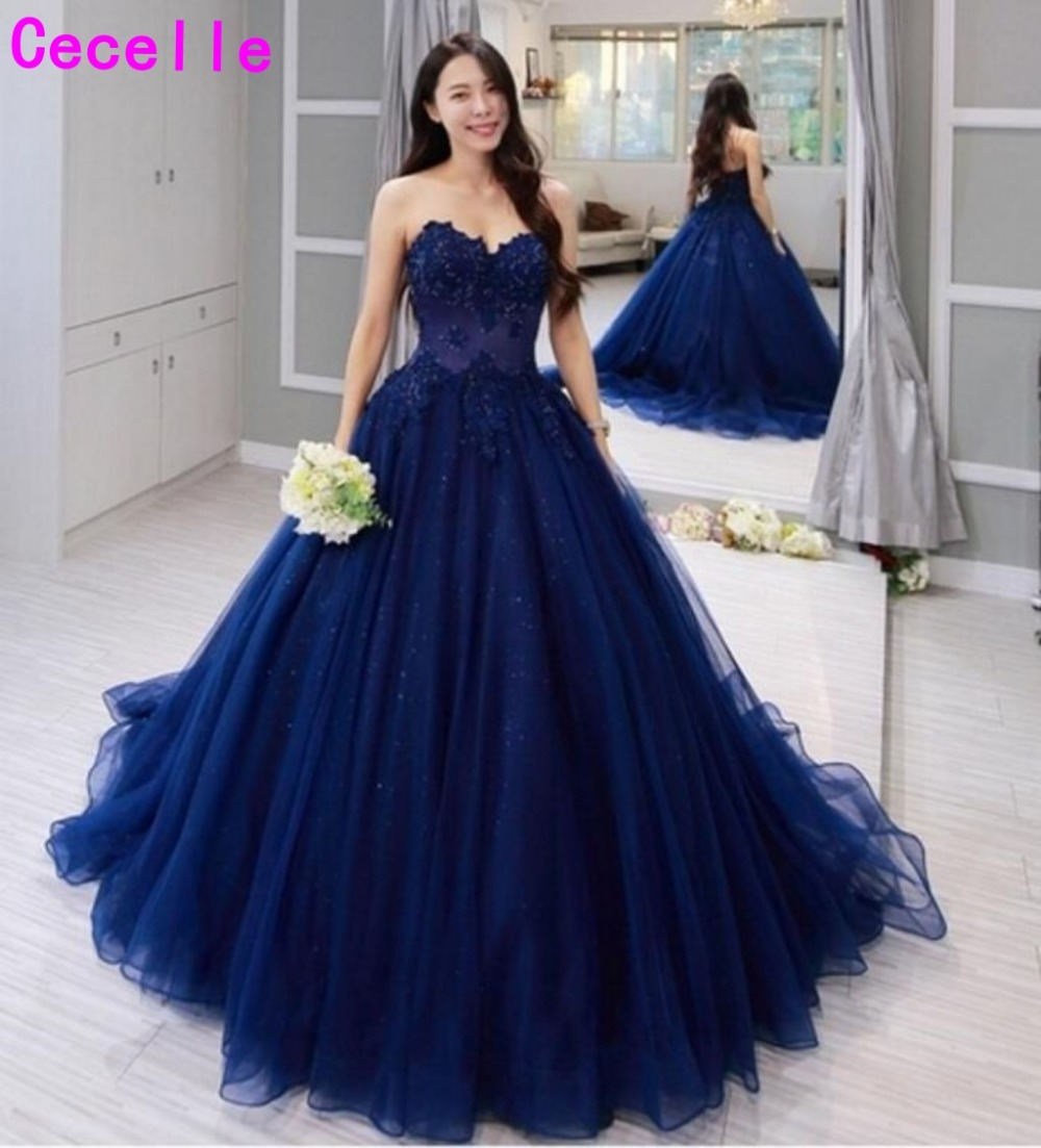 Navy Blue Sexy Ball Gown   Prom     Dress   Sweetheart Beaded Lace Appliques tulle women formal party   dress   vestido de festa Custom