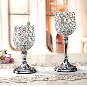 Image 5 - Pilar de vidro tealight castiçais de cristal castiçais mesa stands decoração casamento para casa presente de aquecimento
