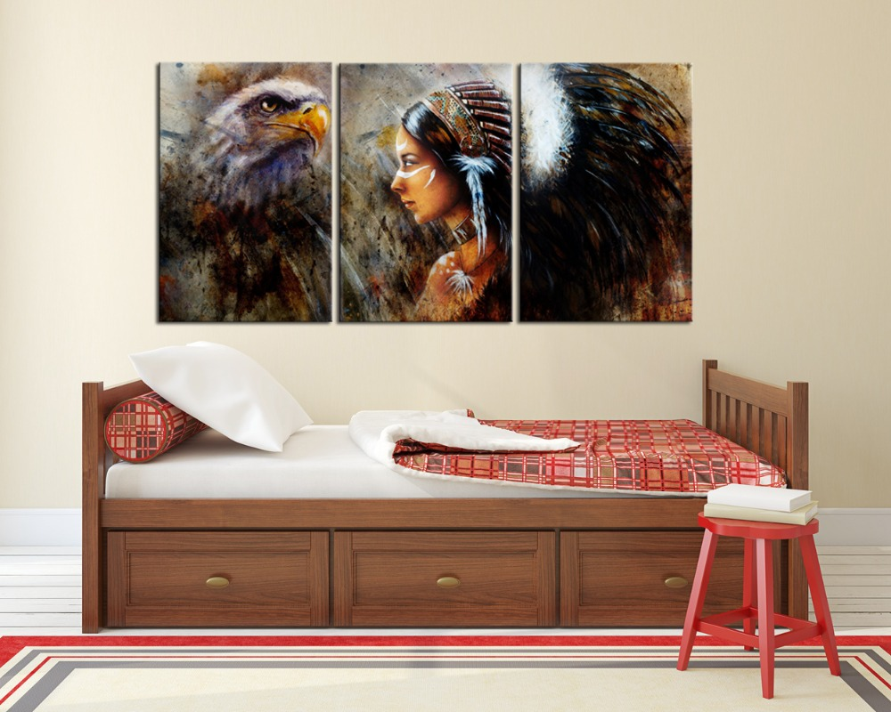 3 panels native american indian beauty girl side face paintings 3 panels native american indian beauty girl side face paintings wall decor indian women beauty and horse eagle art print framed in painting calligraphy amipublicfo Choice Image