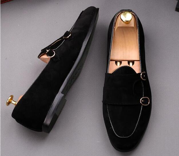 Brown Loafers Flats-Shoes Men Suede Dress Oxfords Black Casual 2-Belt Buckle Homecoming
