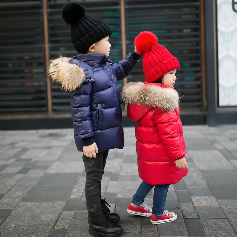 3-14 Years Children Winter Down Jacket Brand Hooded Girls Coat Solid Warm Raccoon Fur Collar Kid Boys Outerwear winter jacket for boys 2017 new brand teenage boys fur collar hooded down coat fashion children thicken warm outerwear clothing