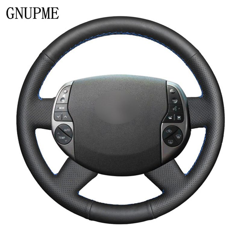 GNUPME Black Steering Cover Artificial Leather Car Steering Wheel Cover for Toyota <font><b>Prius</b></font> 20(XW20) 2004 <font><b>2005</b></font> 2006 2007 2008 2009 image