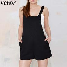 VONDA Rompers Womens Jumpsuit 2018 Summer Retro Cotton Bodysuit Elegant Female Solid Pockets Casual Loose Playsuits