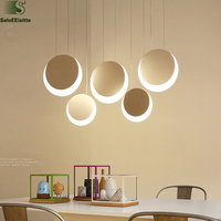Minimalism Remote Control Dimmable White Round Led Chandelier Dining Room Lustre Hanging Lamp Luminarias Led Pendant Chandelier