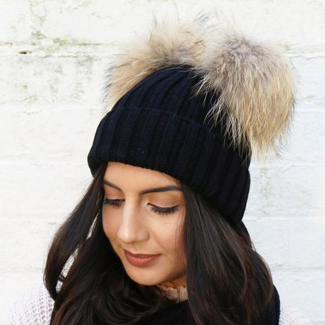 Women Winter Caps Faux Fur Pom Pom Hat Crochet Knitted Wool Cotton Hats Double  Pompom Skullies Beanies Bonnet Girls Female Cap 217e149b91a