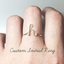 Sliver Gold Color Custom Letter Rings For Women Lover C E H K L M R Y Word Name Finger Ring New Fashion Jewelry #288872(China)