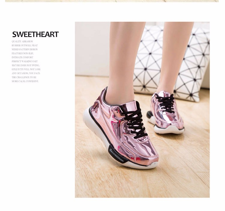 Mirror Surface Women 90 Casual Shoes Fashion Spring Lace Up Platform Womens Shoes Low Top Lace Up Trainers Women Gold Shoes YD52 (30)