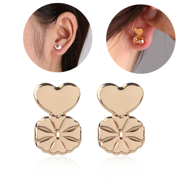 New Magic Earring Backs Support Lifts Fit All Post Earrings Set Gold Color Silver