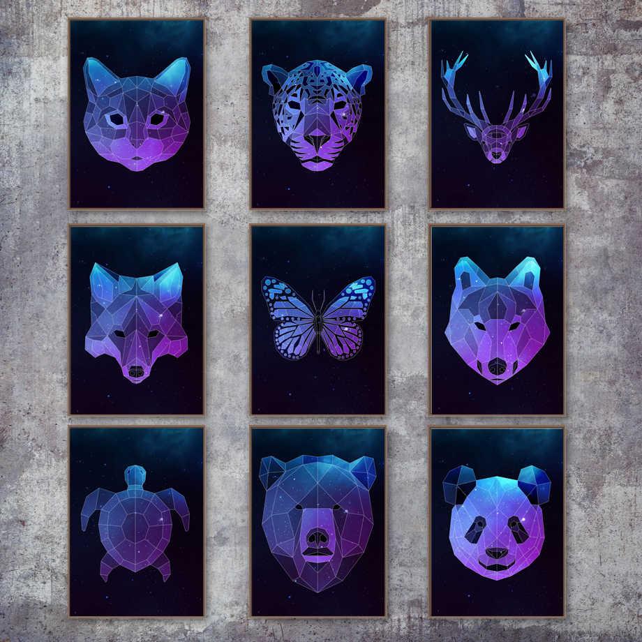 เรขาคณิต Fox Panda หมีหมาป่าแมว Deer Wall Art ภาพวาดผ้าใบ Nordic โปสเตอร์และพิมพ์สัตว์ภาพผนังสำหรับห้องนั่งเล่นตกแต่งห้อง