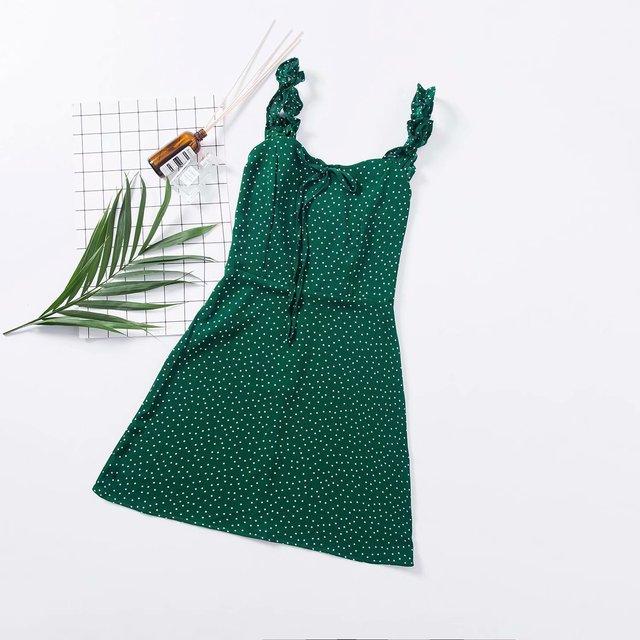 Women Frill Trim Polka Dot Green Cami Dress Vintage Mini Cami Dress with Bowknot Front
