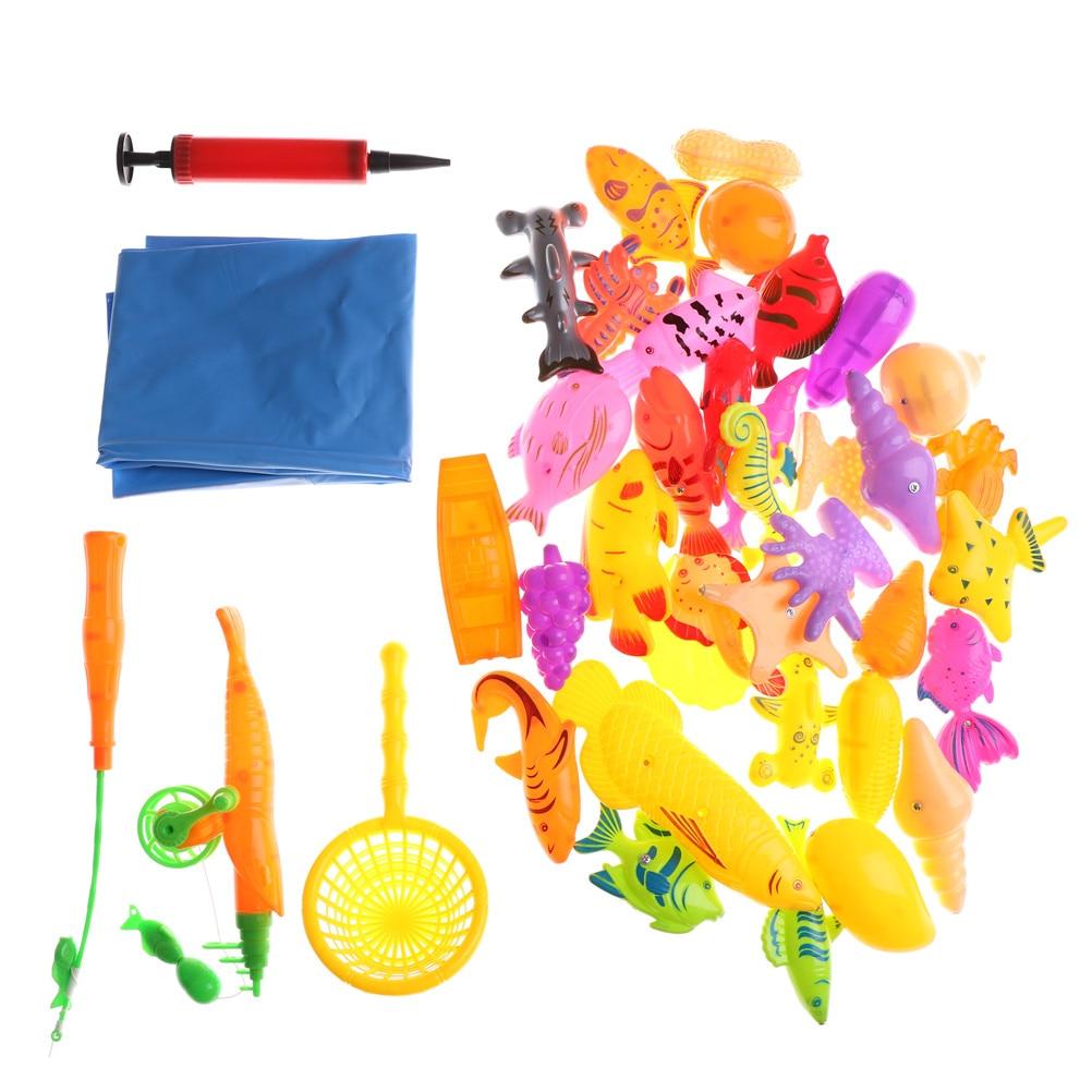 40 Stks Met Opblaasbare Zwembad Magnetische Vissen Speelgoed Staaf Netto Set Voor Kind Model Spelen Vissen Games Outdoor Speelgoed