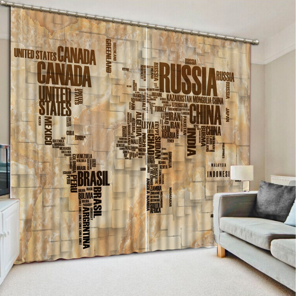 3D curtains for living room Creative map window curtain home decoration modern living room