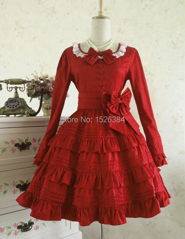 Lolita katoenen jurk met kant en strikjes Lolita - Carnavalskostuums - Foto 2